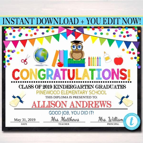 Editable Kindergarten Graduation Certificates Fresh Editable Graduation Certificate Any Grade Printable