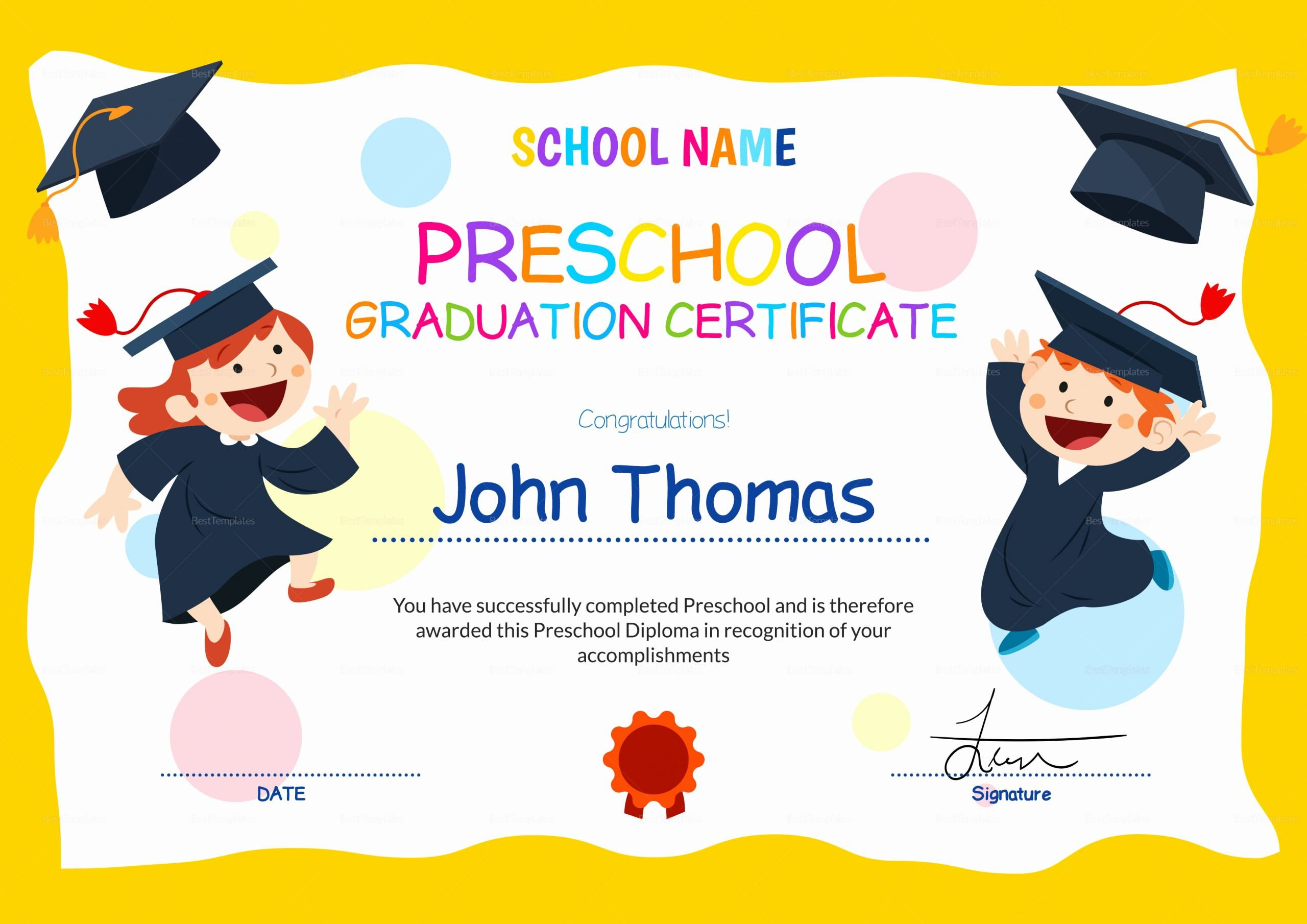 Editable Kindergarten Graduation Certificates Inspirational Preschool Graduation Certificate Design Template In Psd Word
