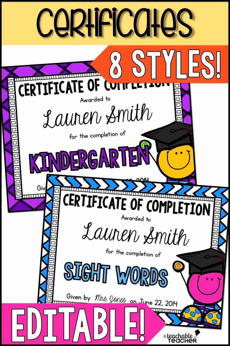 Editable Kindergarten Graduation Certificates Luxury Certificates Of Pletion Editable