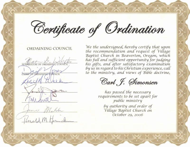 Elder ordination Certificate Template Fresh Carl Simonsen S Pastoral Support Ministry