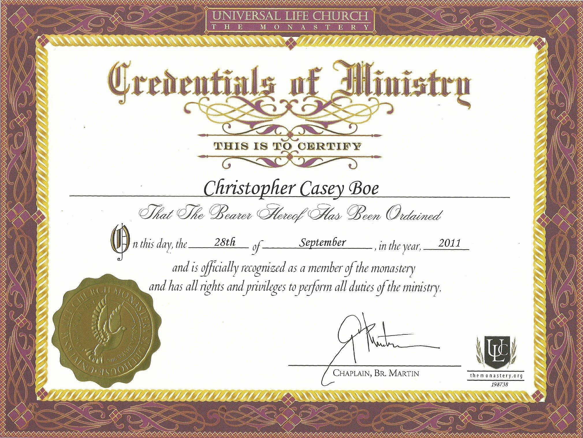 Elder ordination Certificate Template Inspirational ordination Certificate Template