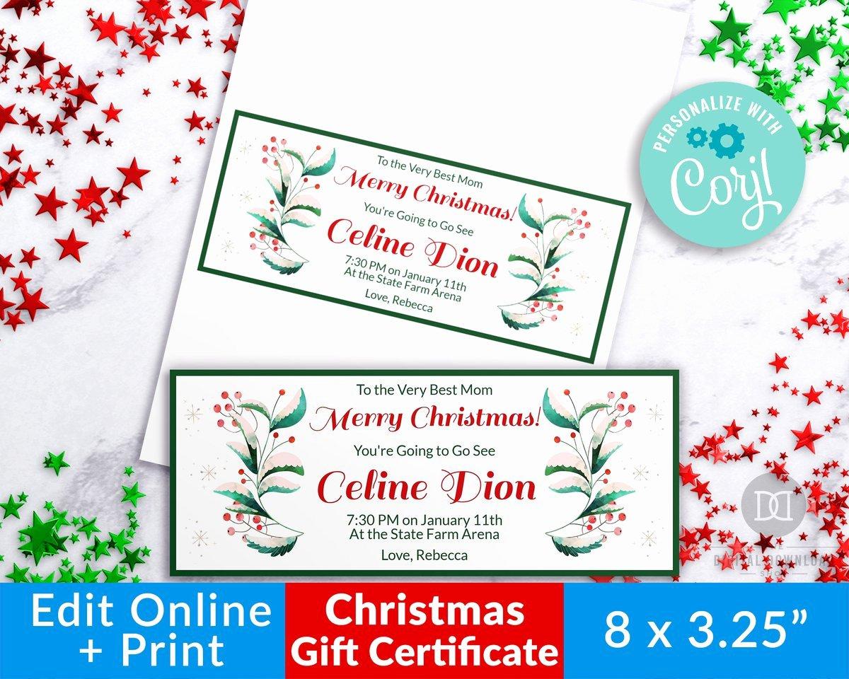 Elegant Gift Certificate Template Inspirational Christmas Gift Certificate Template Elegant Greenery