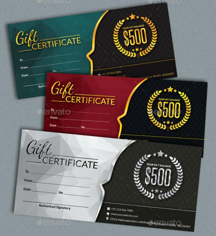 restaurant t certificates