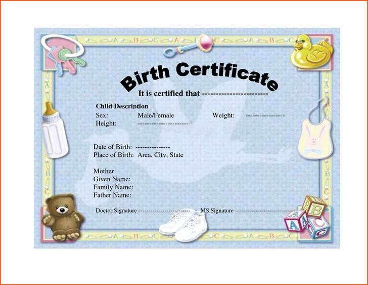 Element Birth Certificate Template New 4 Birth Certificate Template Free Download