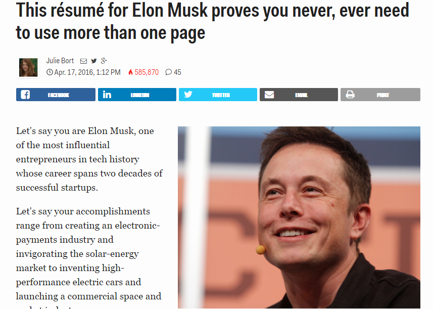 Elon Musk One Page Resume Elegant This Résumé for Elon Musk Proves You Never Ever Need to