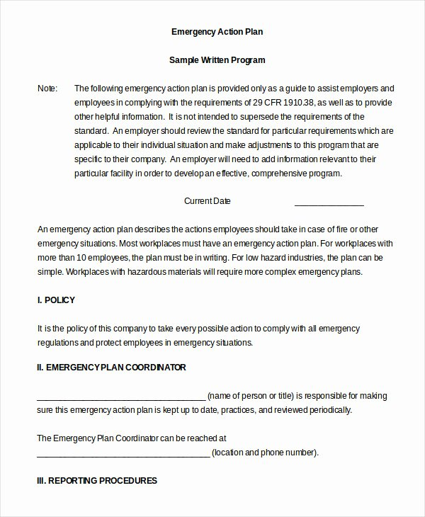 sample emergency action plans