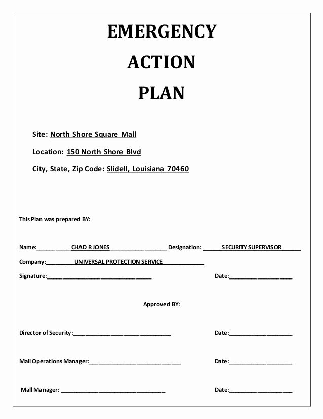 Emergency Action Plan Template Inspirational Emergency Action Plan