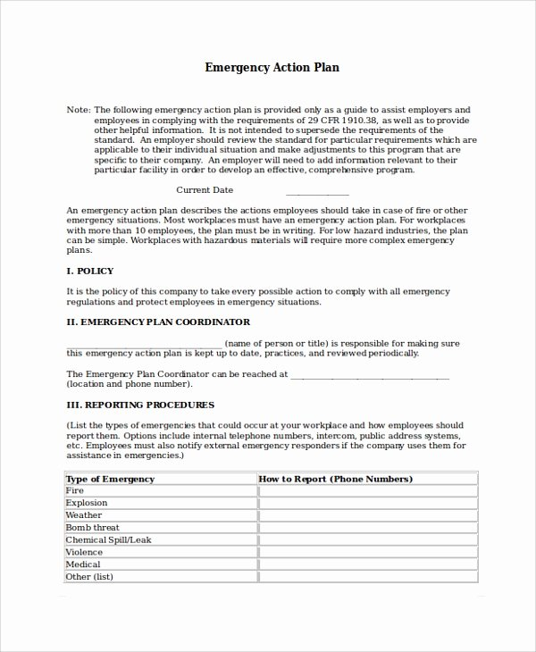 Emergency Action Plan Template Lovely 8 Emergency Action Plan Samples Examples & Templates