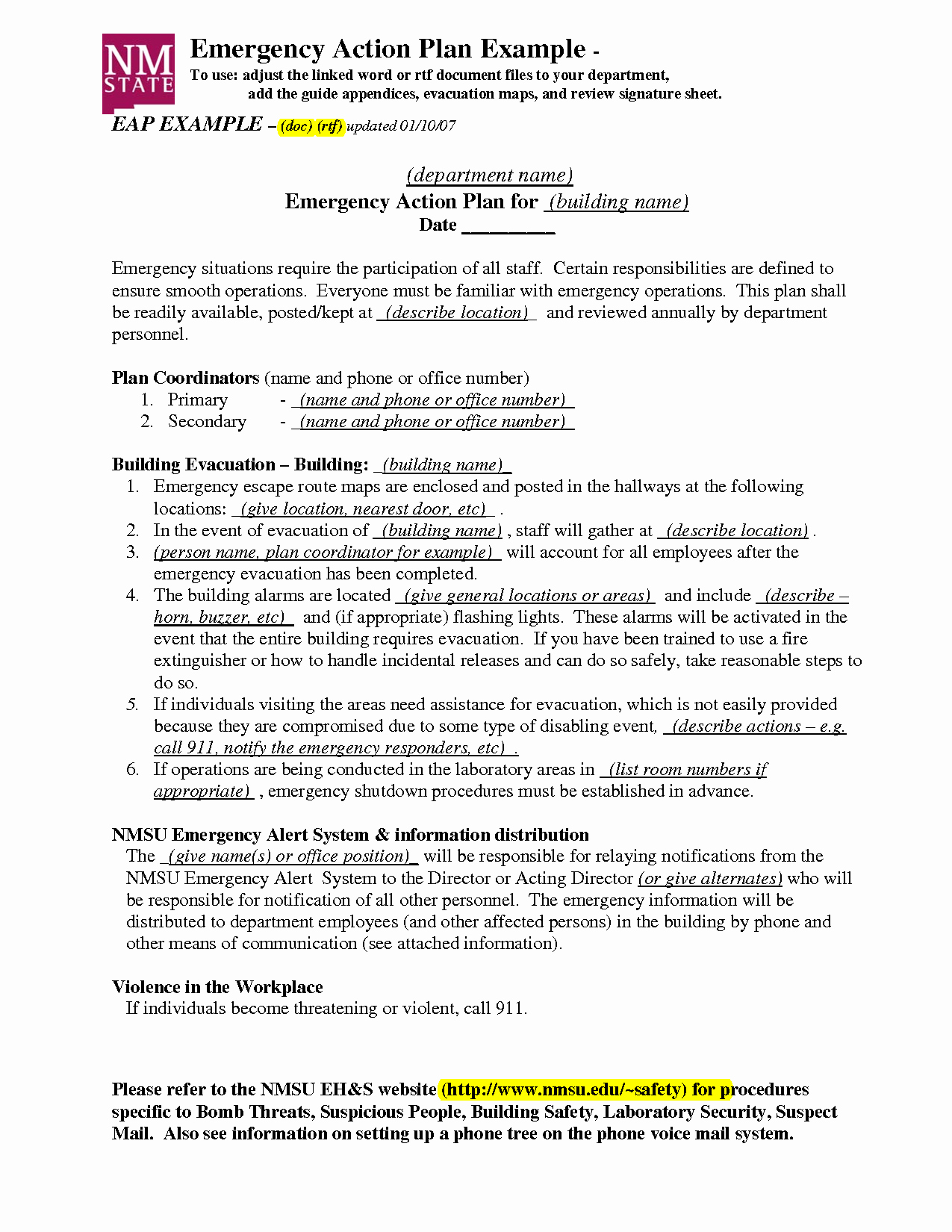 Emergency Action Plan Template Lovely Emergency Action Plan Template