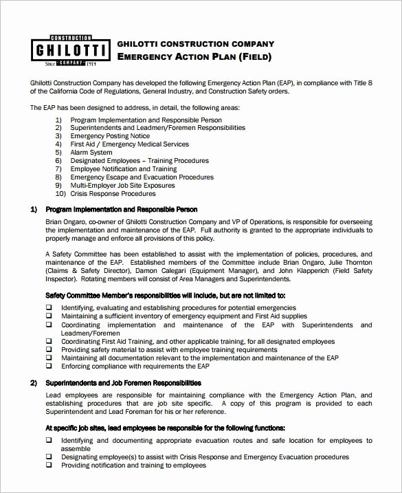 Emergency Action Plan Template New Emergency Action Plan Template 9 Free Sample Example