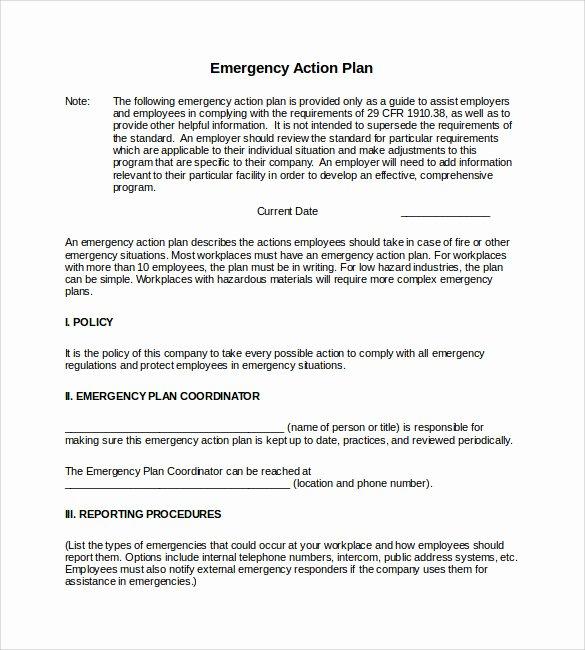 Emergency Action Plan Template Unique Sample Emergency Action Plan 11 Free Documents In Word Pdf