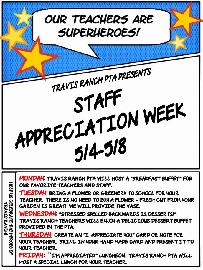 Employee Appreciation Day Flyer Template Elegant Staff Appreciation Week – Travis Ranch Pta