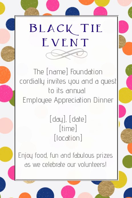 Employee Appreciation Flyer Templates Beautiful Copy Of Black Tie formal event Dinner Employee
