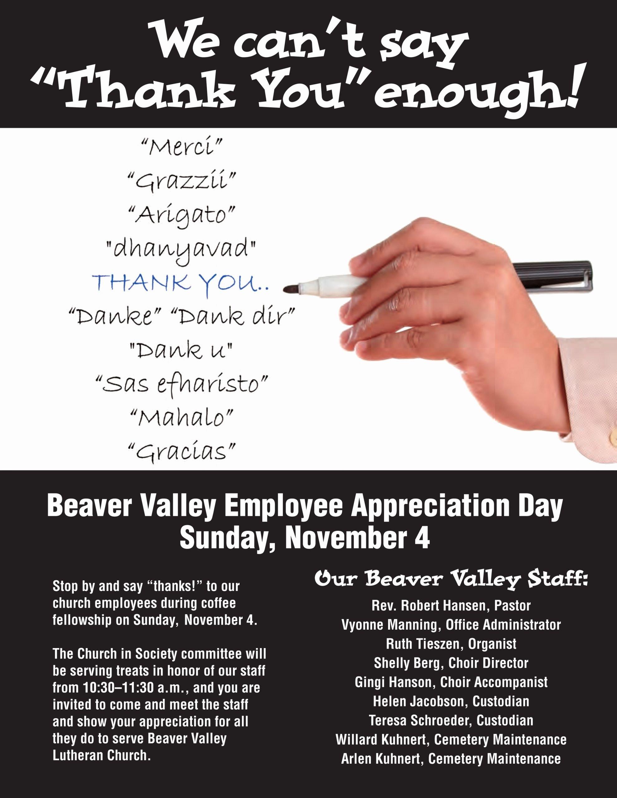Employee Appreciation Flyer Templates Luxury Staff Appreciation Day Nov 4