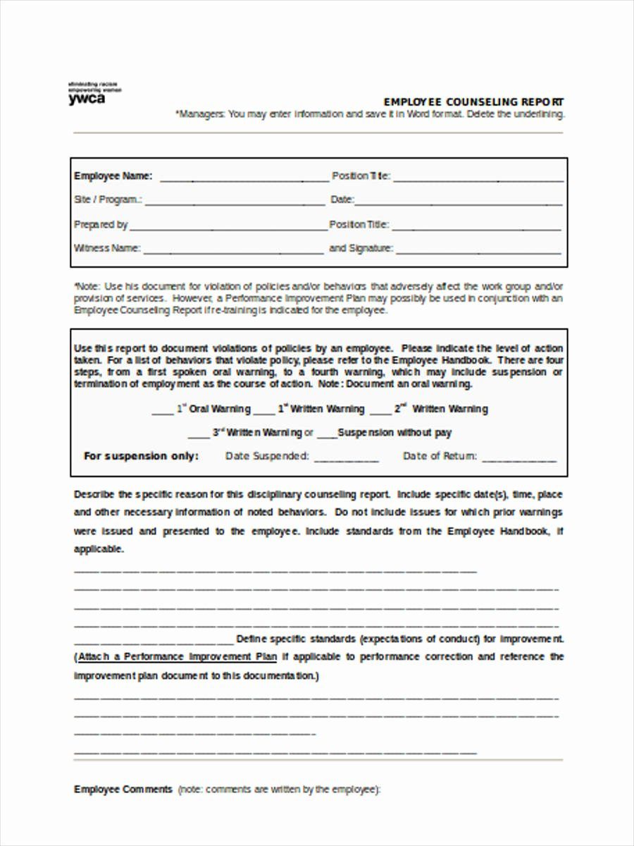 Employee Counseling form Best Of Free 8 Employee Counseling forms In Samples Examples