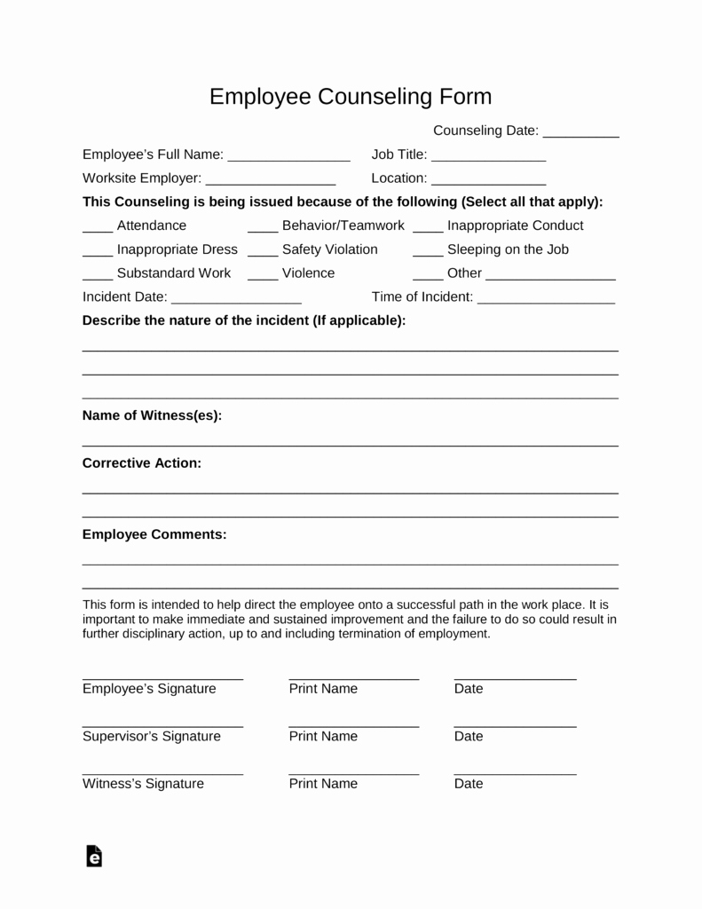 Employee Counseling form Elegant Free Employee Counseling form Pdf Word
