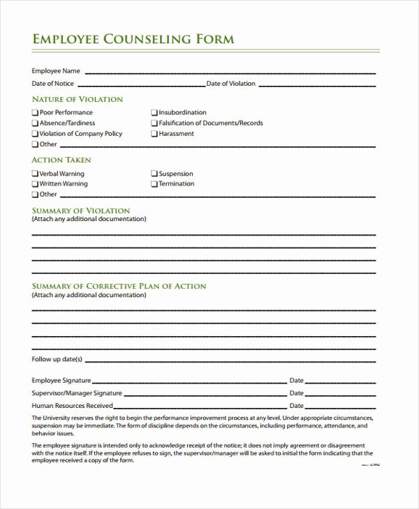 Employee Counseling form Inspirational Free 47 Counseling form Examples