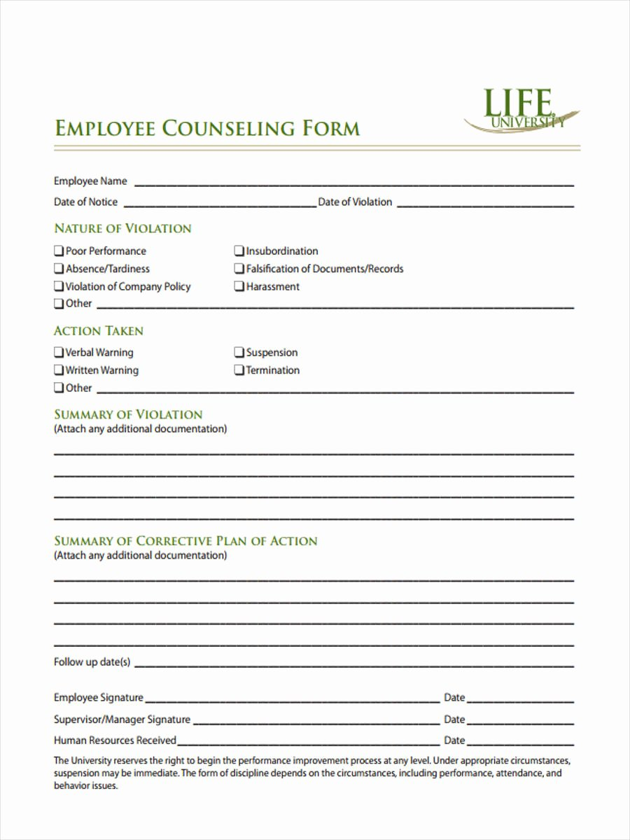Employee Counseling form Luxury Free 6 General Counseling forms In Samples Examples formats