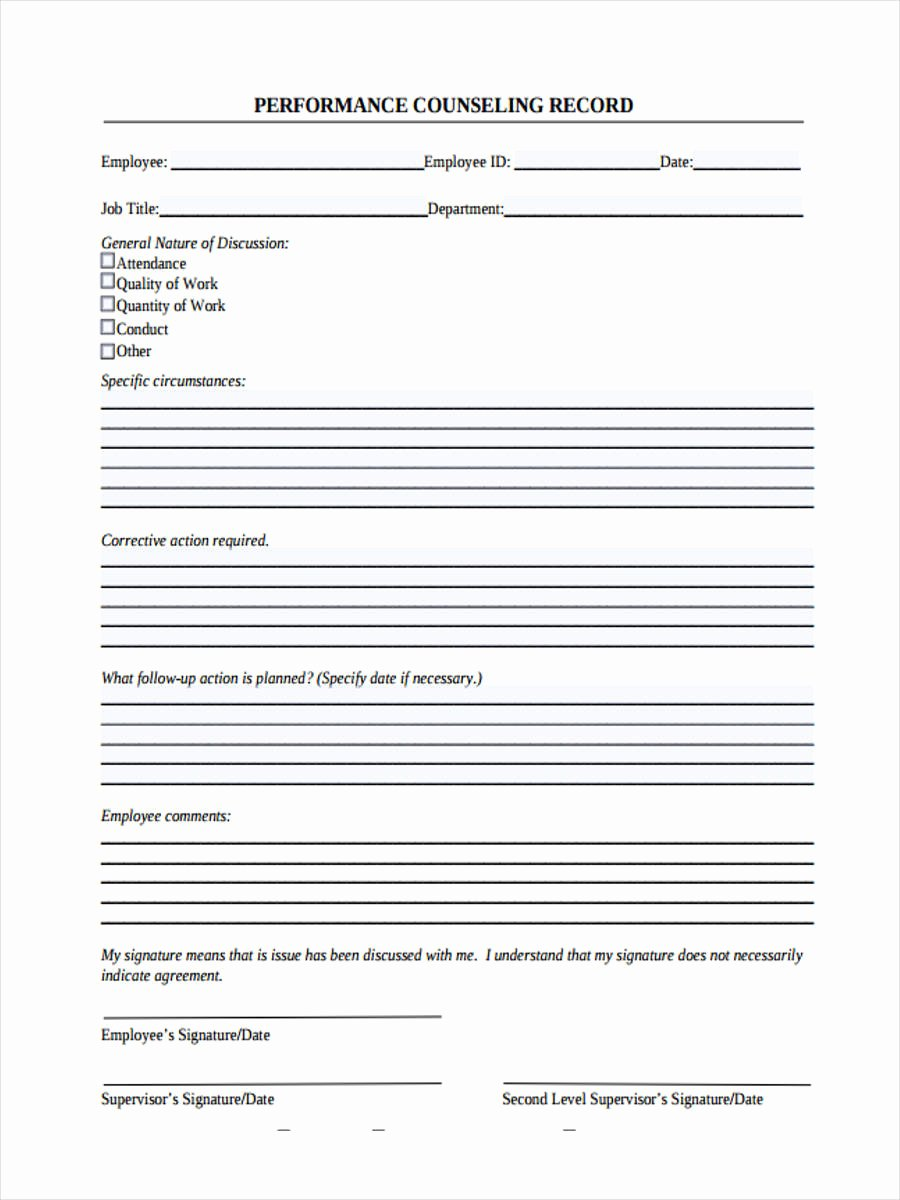 Employee Counseling form Luxury Free 8 Employee Counseling forms In Samples Examples