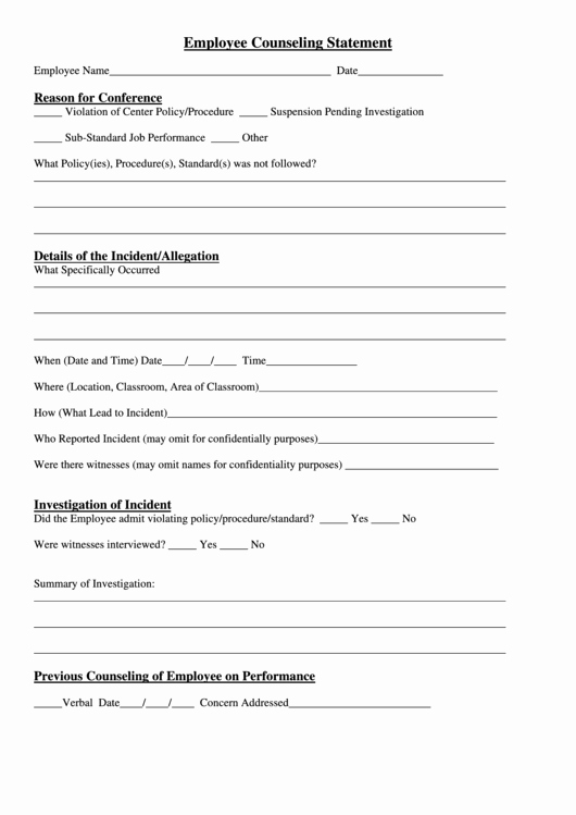 Employee Counseling form Sample Awesome top 6 Employee Counseling form Templates Free to