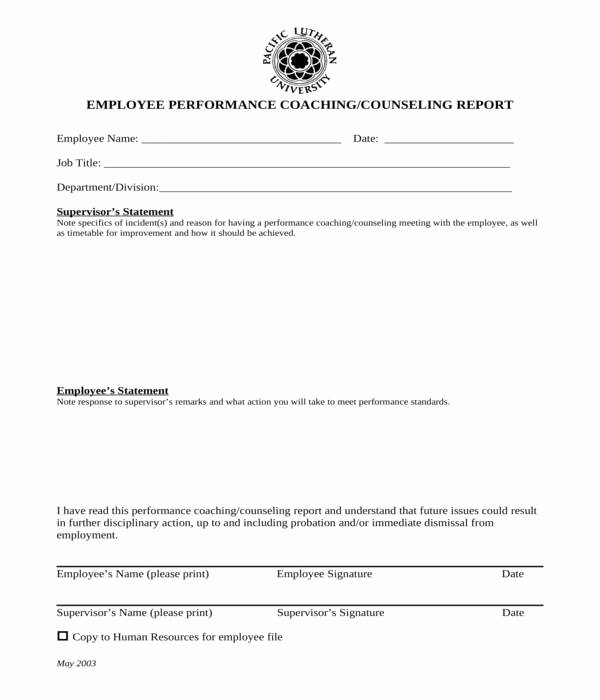 Employee Counseling form Sample Best Of Free 8 Employee Counseling forms In Pdf