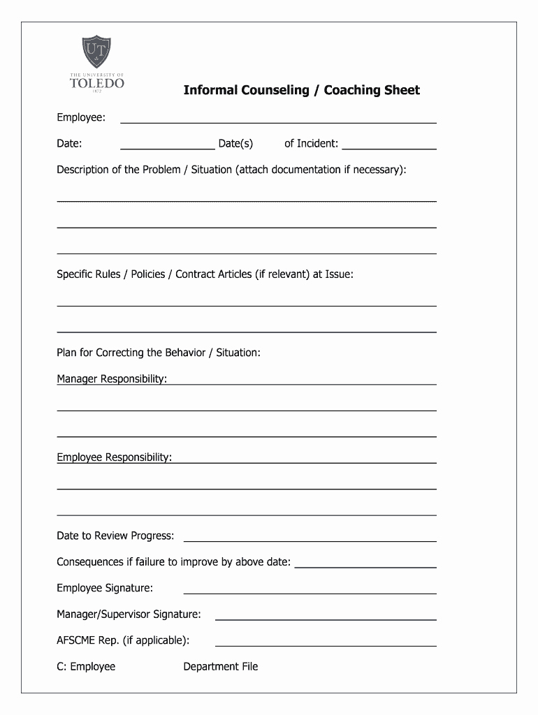 Employee Counseling form Sample Fresh Informal Counseling form Fill Line Printable