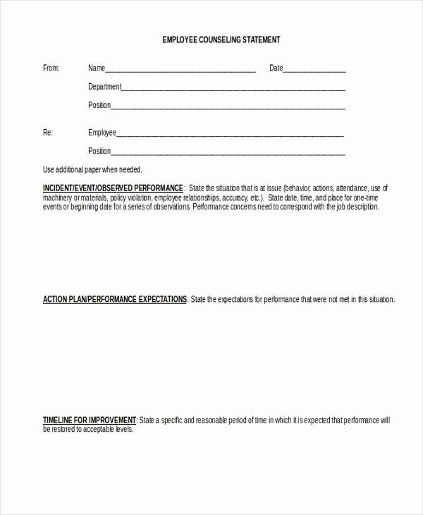 Employee Counseling form Sample Inspirational Free 10 Sample Employee Statement forms In Word