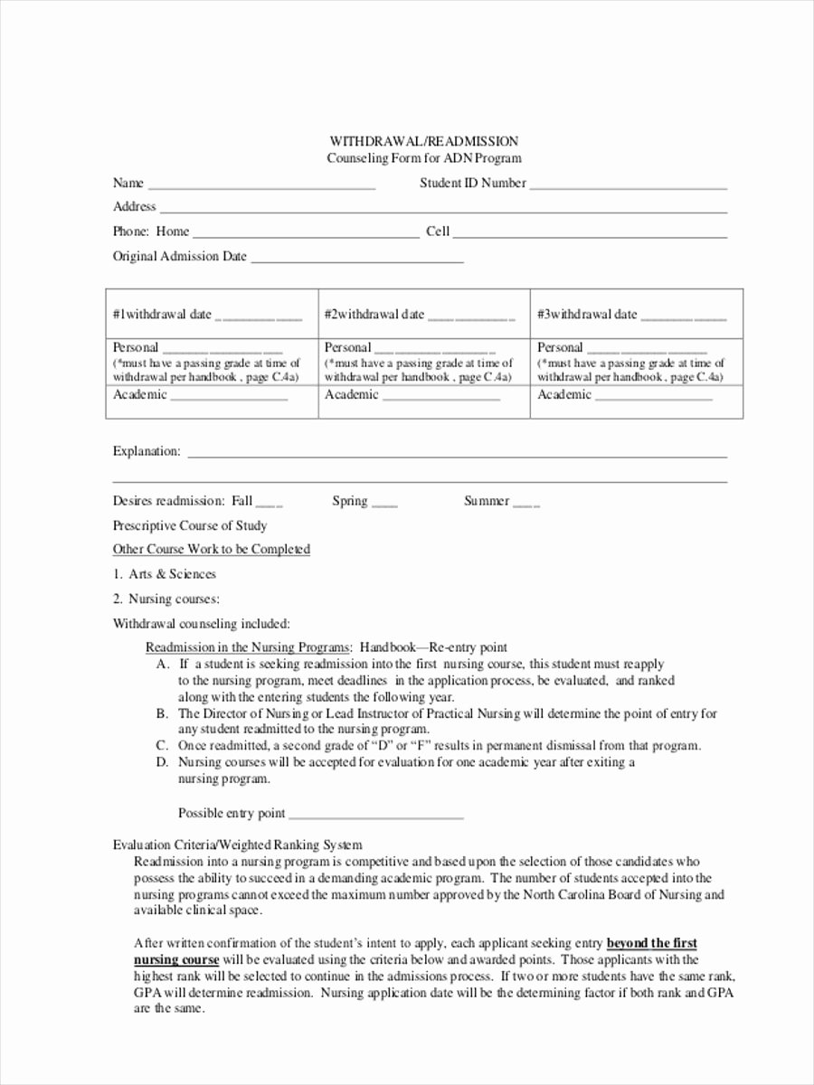 counseling form template