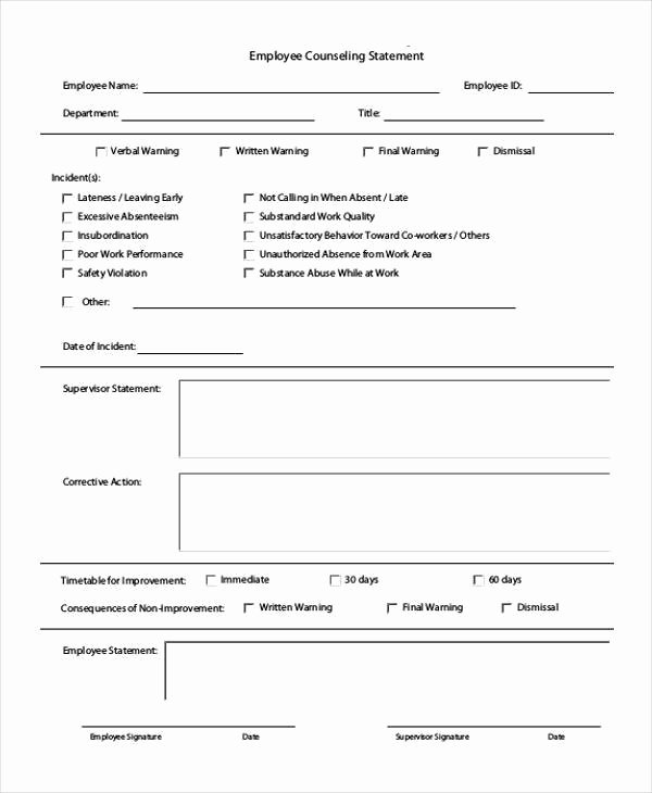 Employee Counseling form Sample Inspirational Free 7 Employment Statement form Samples In Sample