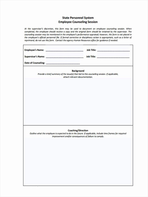 Employee Counseling form Sample Lovely Employee Counseling form