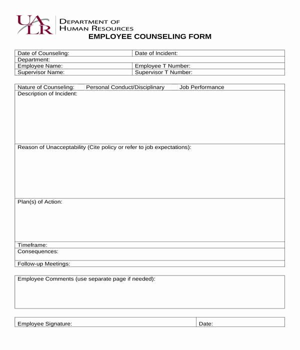 Employee Counseling form Sample Lovely Free 8 Employee Counseling forms In Pdf
