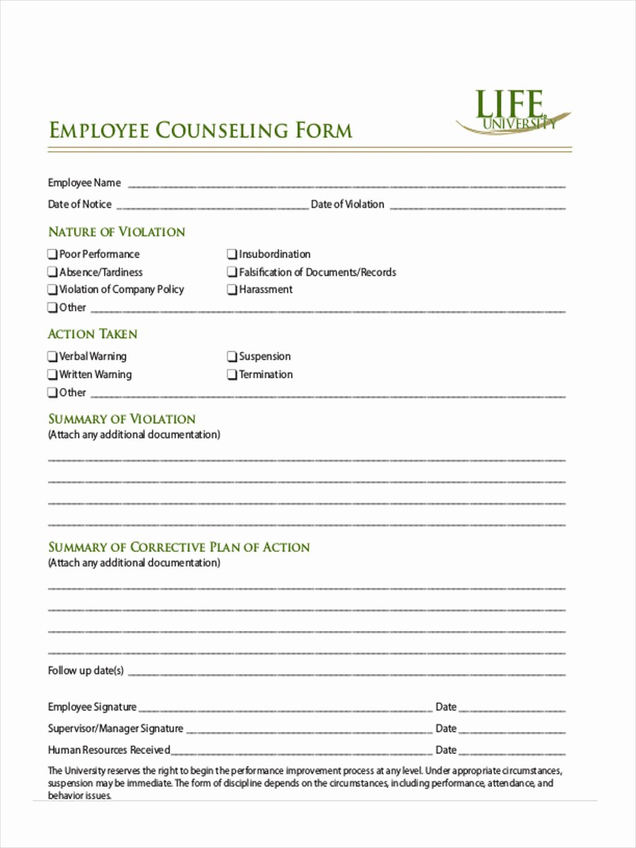 Employee Counseling form Sample Luxury Free 8 Employee Counseling forms In Samples Examples