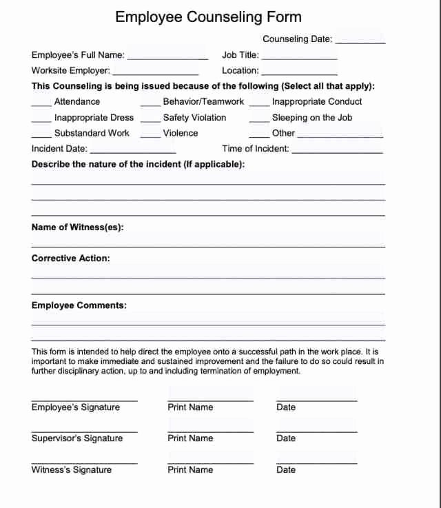 Employee Counseling form Sample New 20 Employee Write Up form Free Download [pdf Word]