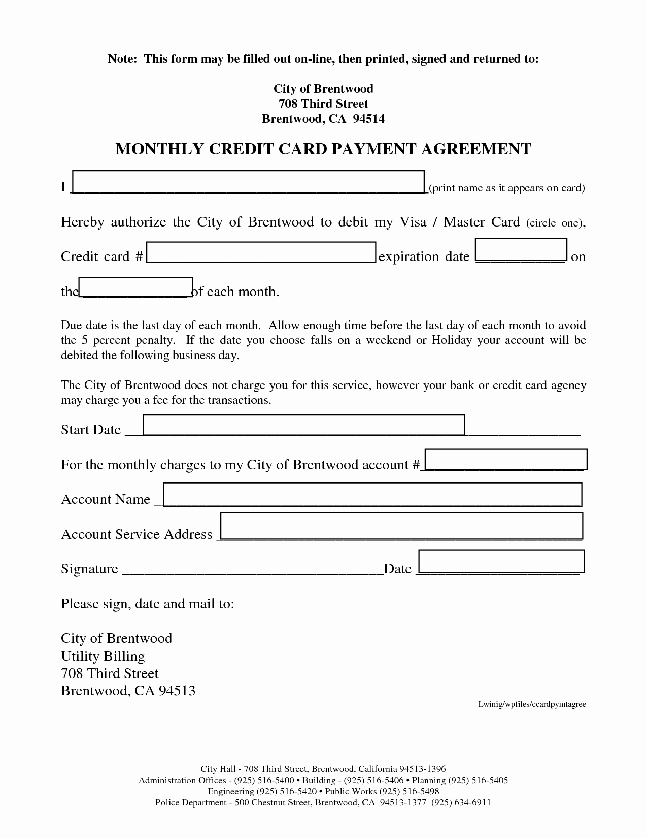 Employee Credit Card Agreement Template Fresh Employee Credit Card Agreement