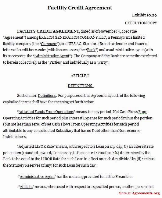 Employee Credit Card Agreement Template New Facility Credit Agreement Template Download Pdf