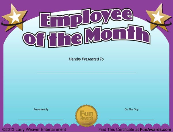 Employee Of the Month Awards Templates Awesome Employee Of the Month Certificate Free Funny Award Template
