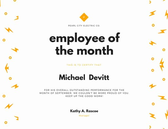 Employee Of the Month Awards Templates Fresh Customize 1 508 Employee the Month Certificate