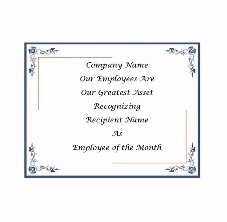 Employee Of the Month Awards Templates Inspirational 30 Printable Employee Of the Month Certificates