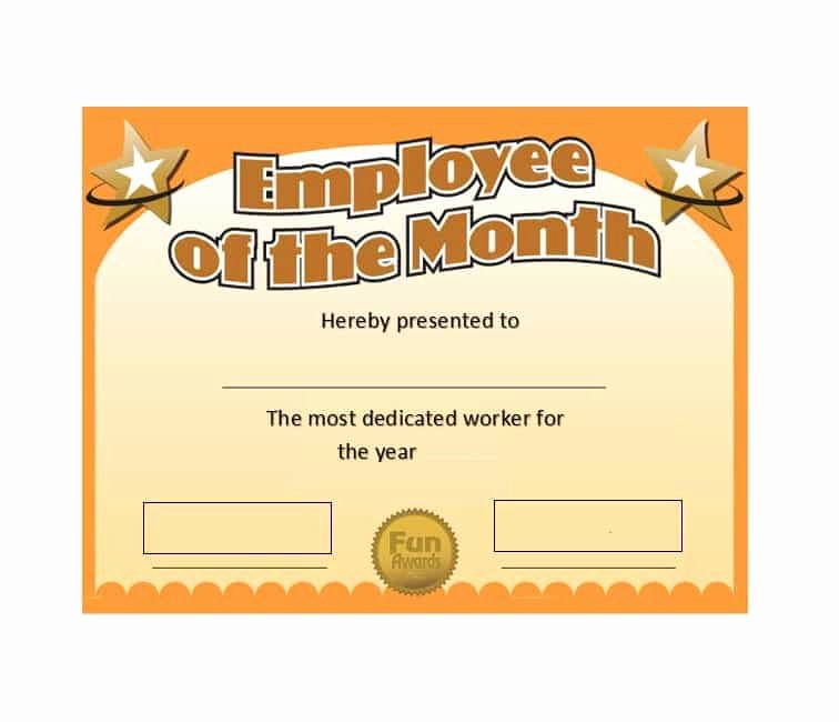 Employee Of the Month Awards Templates Lovely 30 Printable Employee Of the Month Certificates