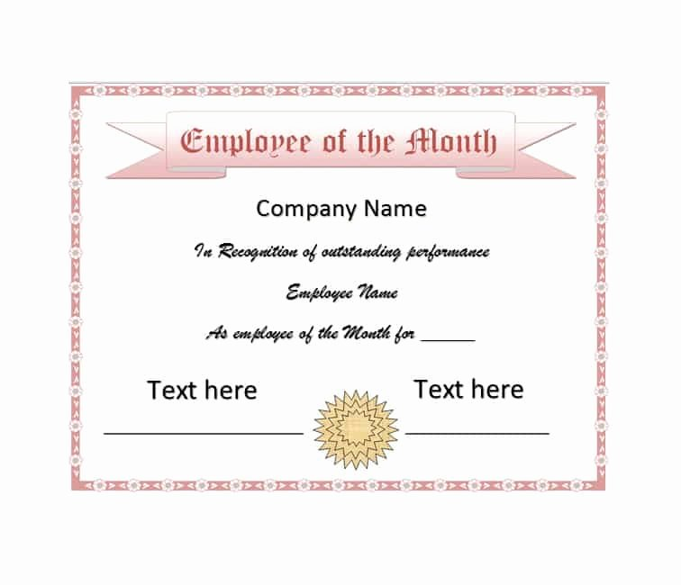 Employee Of the Month Awards Templates Unique 30 Printable Employee Of the Month Certificates