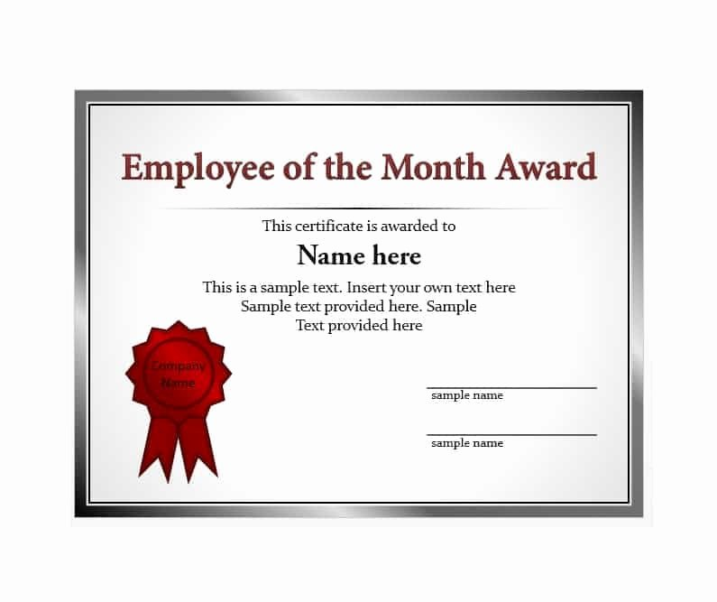 Employee Of the Month Certificate Free Template Awesome 30 Printable Employee Of the Month Certificates