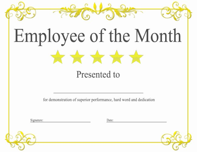 Employee Of the Month Certificate Free Template Awesome Epic Editable Template Example Of Employee Of the Month