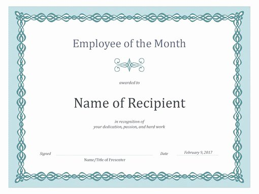 Employee Of the Month Certificate Free Template Best Of Certificate for Employee Of the Month Blue Chain Design