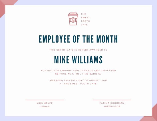 Employee Of the Month Certificate Free Template Fresh Customize 1 508 Employee the Month Certificate