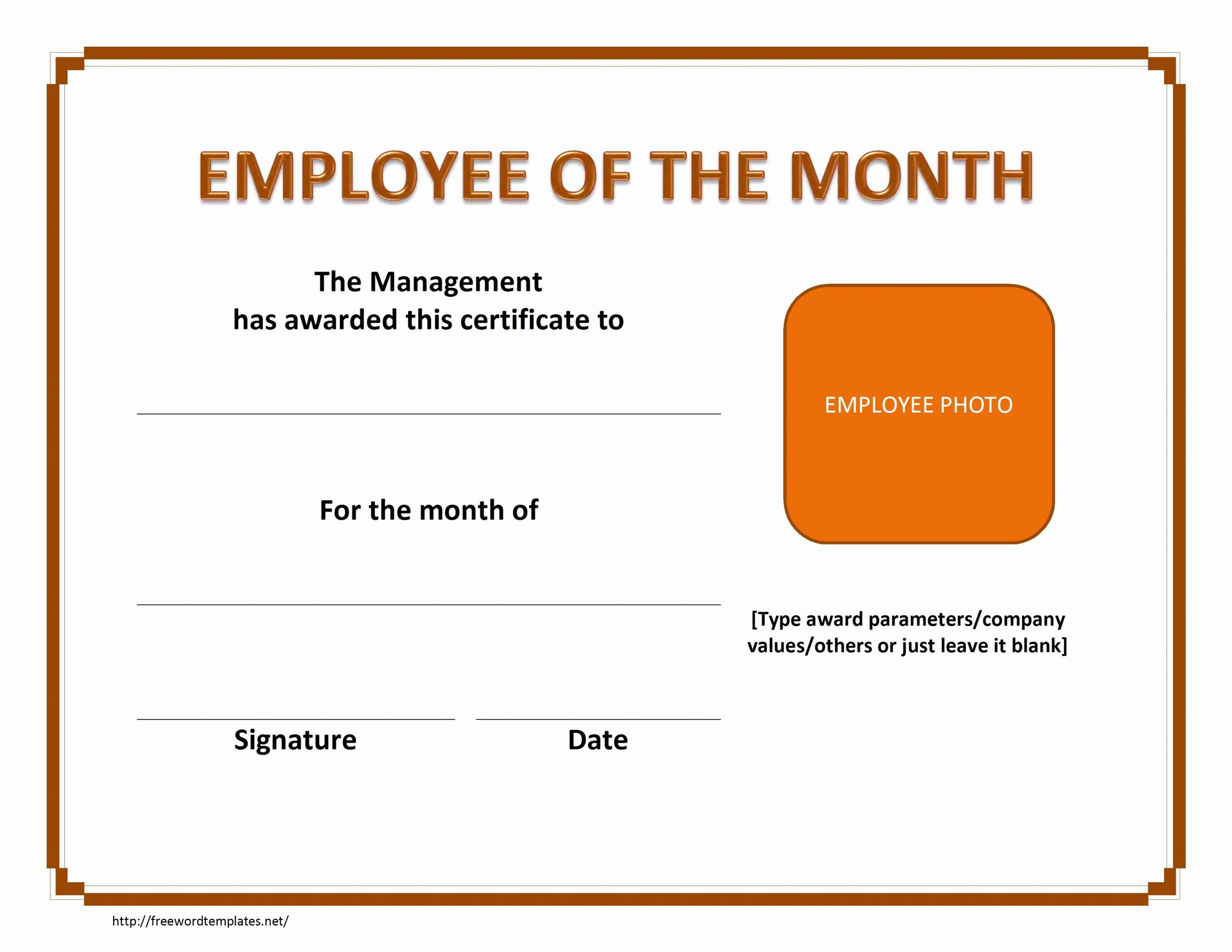 Employee Of the Month Certificate Free Template Inspirational Best Employee the Month Certificate Template