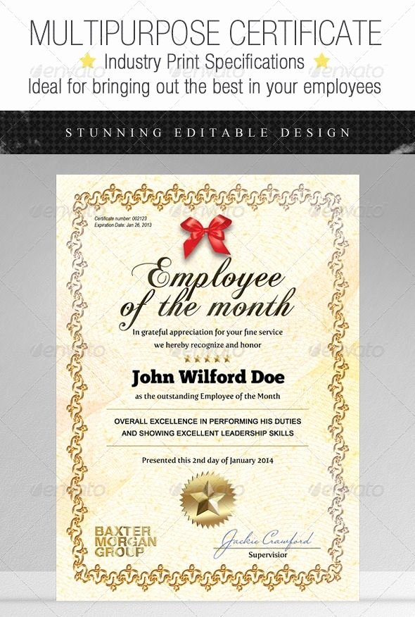 Employee Of the Month Certificate Free Template Inspirational Certificate Template Graphic Design