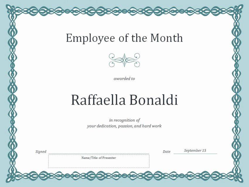 Employee Of the Month Certificate Free Template Inspirational Employee Of the Month Certificate Template Template Haven