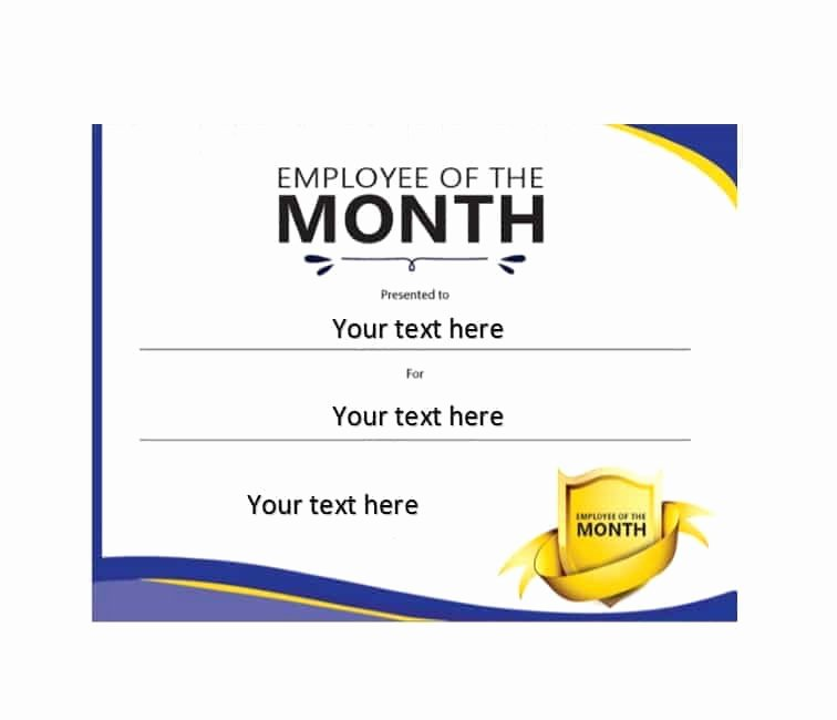 Employee Of the Month Certificate Free Template Lovely 30 Printable Employee Of the Month Certificates