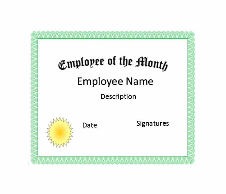 Employee Of the Month Certificate Free Template Luxury 30 Printable Employee Of the Month Certificates