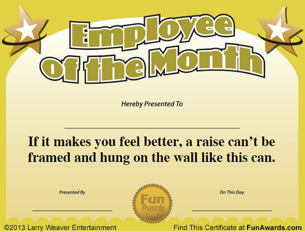 Employee Of the Month Download Best Of Free Printable Certificates Funny Printable Certificates